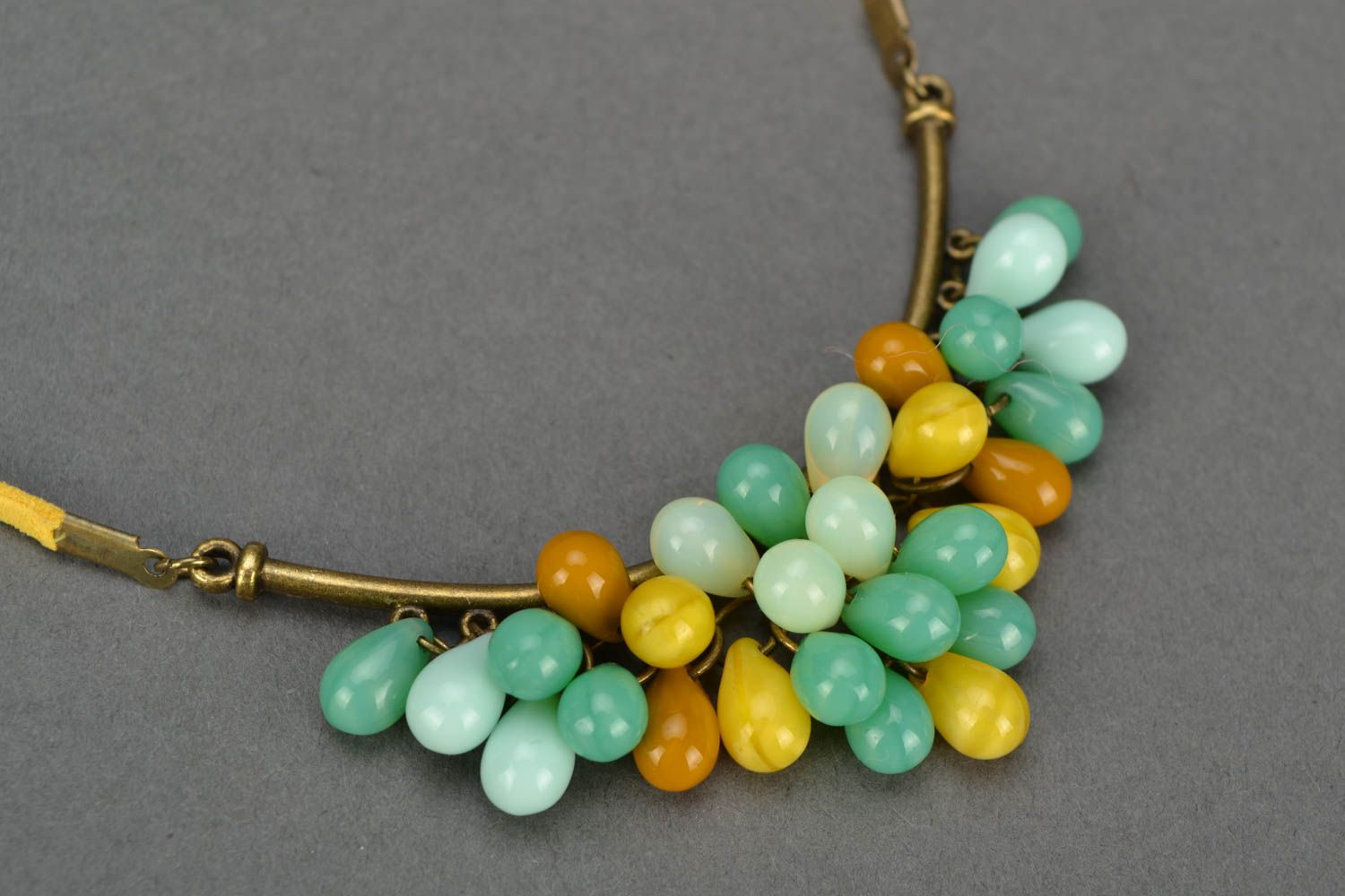 Beautiful women's handmade designer suede cord necklace with Czech glass beads photo 2