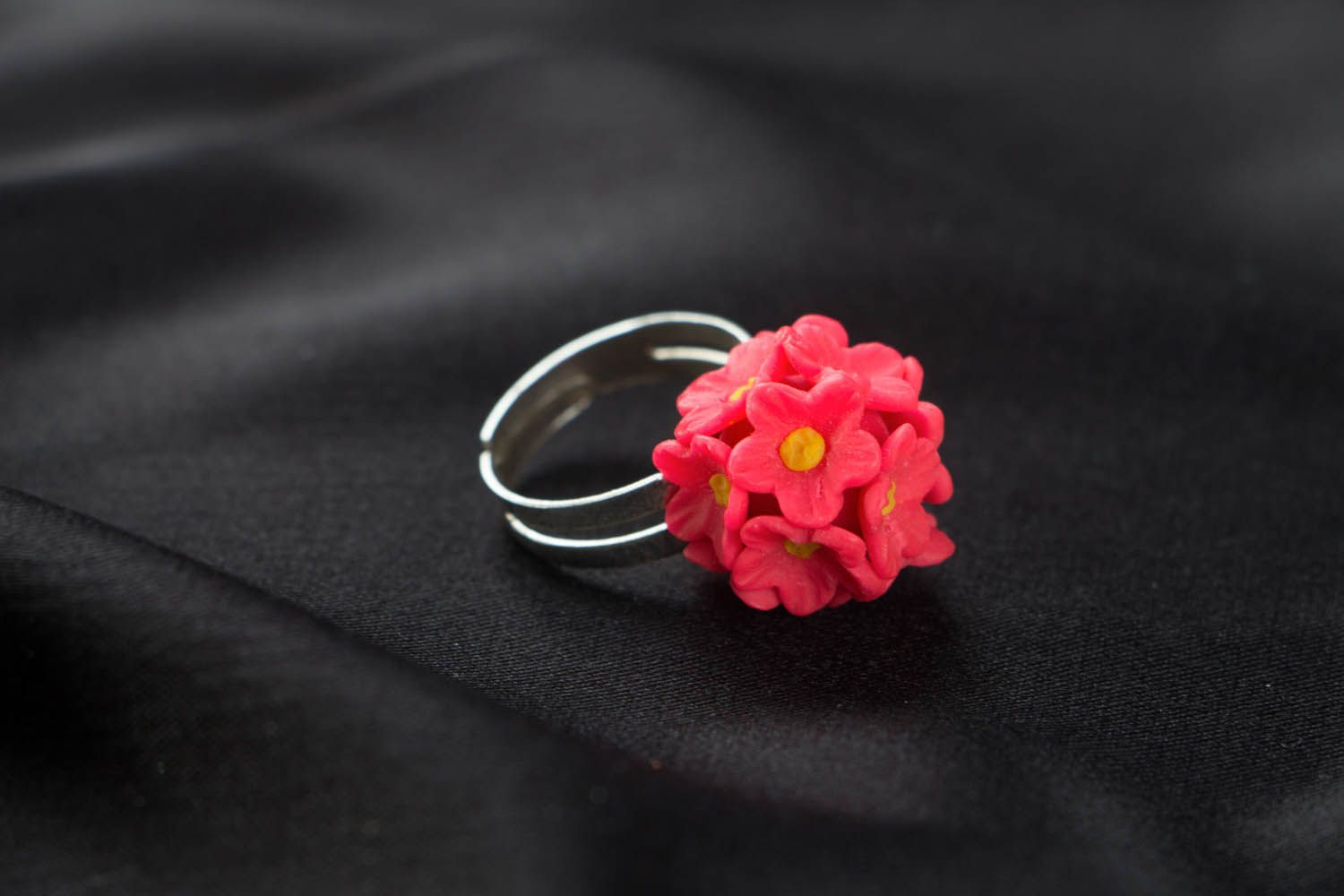 Polymer clay ring Pink Forget-me-nots photo 2