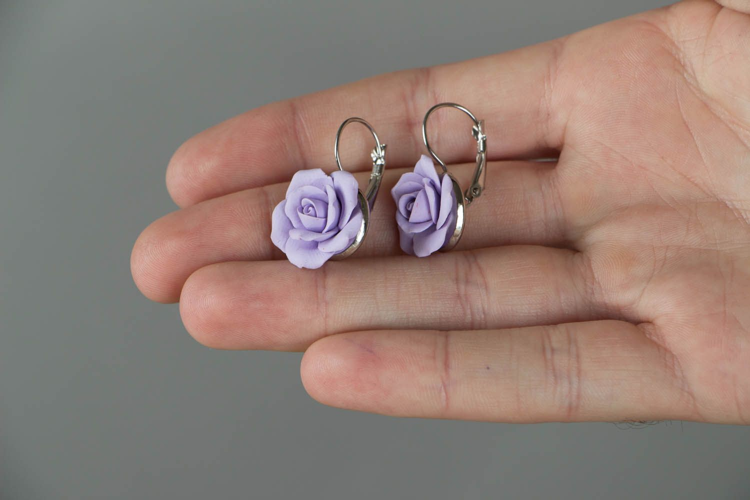 Polymer clay earrings Violet Roses photo 4