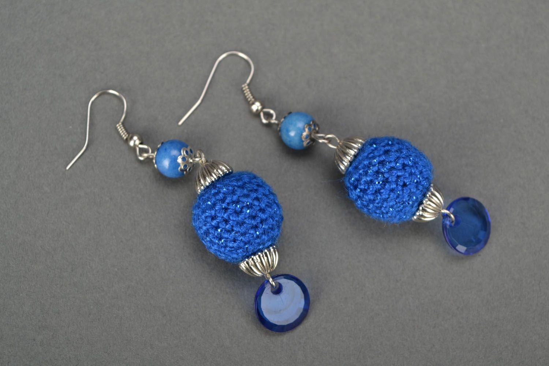 Set of blue crocheted jewelry photo 3