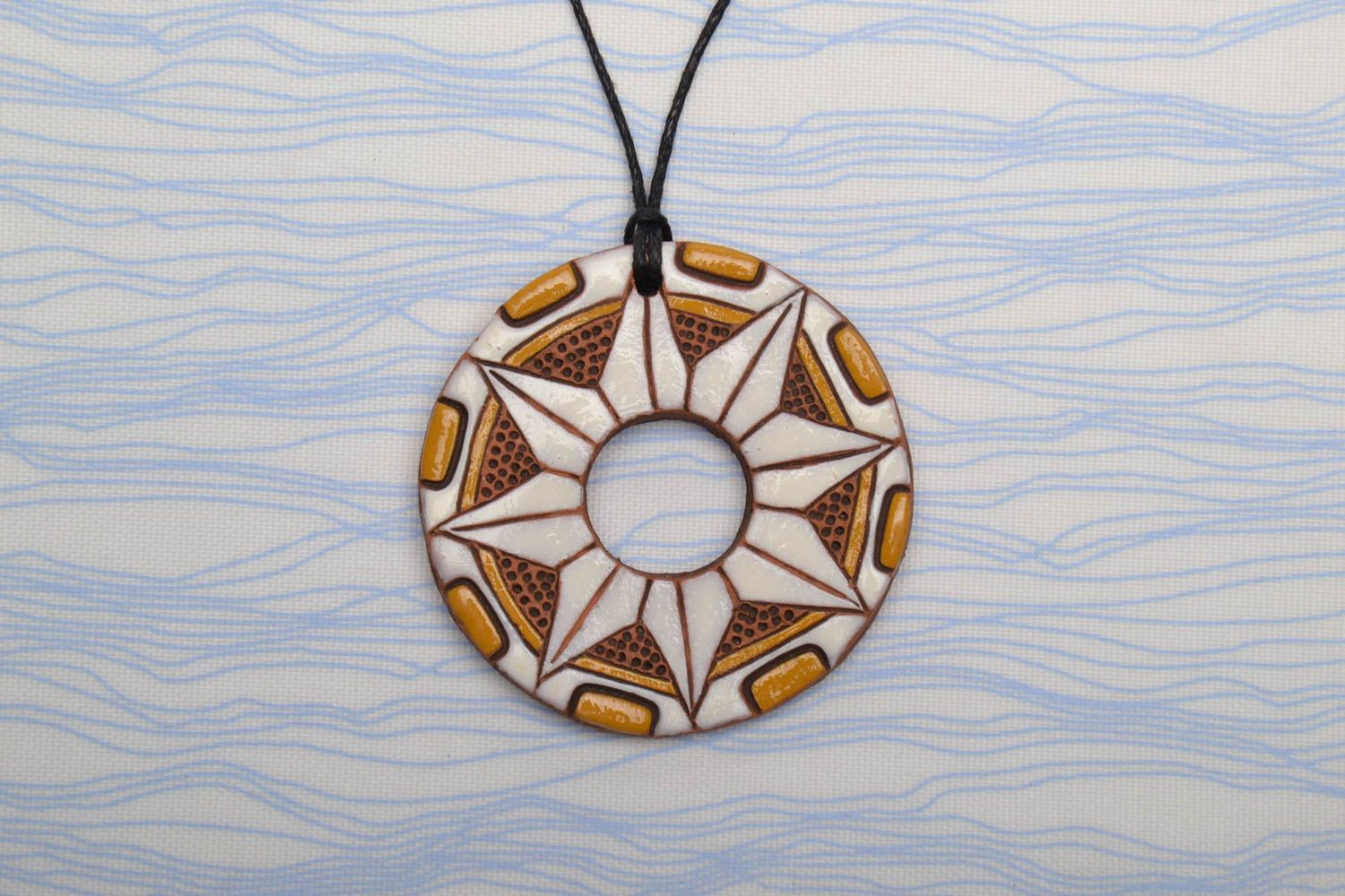 Ceramic pendant with ornaments in ethnic style photo 1