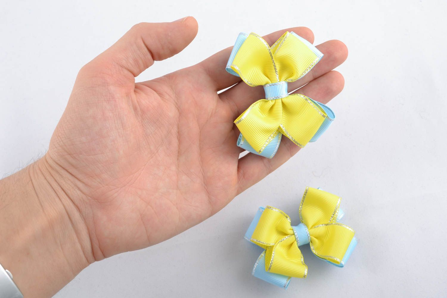 Homemade hair clip Yellow and Blue photo 4