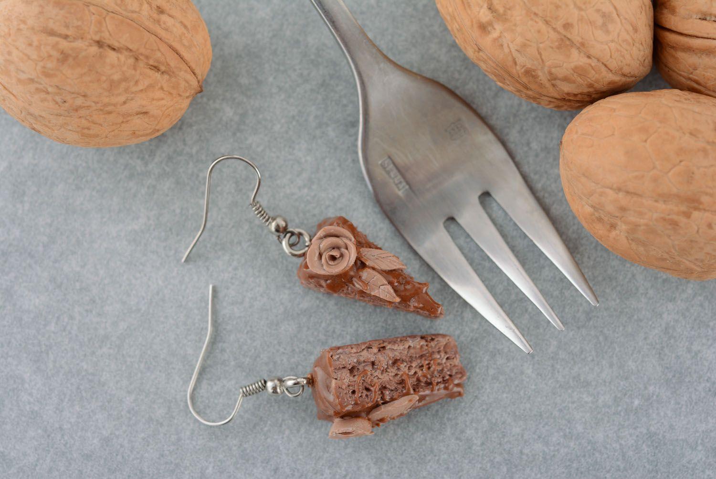 Polymer clay earrings Chocolate Cake photo 1