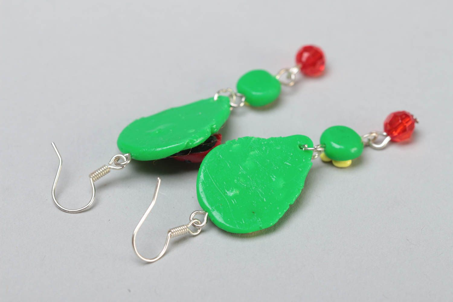 Handmade bright green long dangling polymer clay earrings with ladybugs photo 4