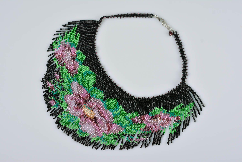 MADEHEART > Collar de abalorios artesanal collar fleco con flores ...