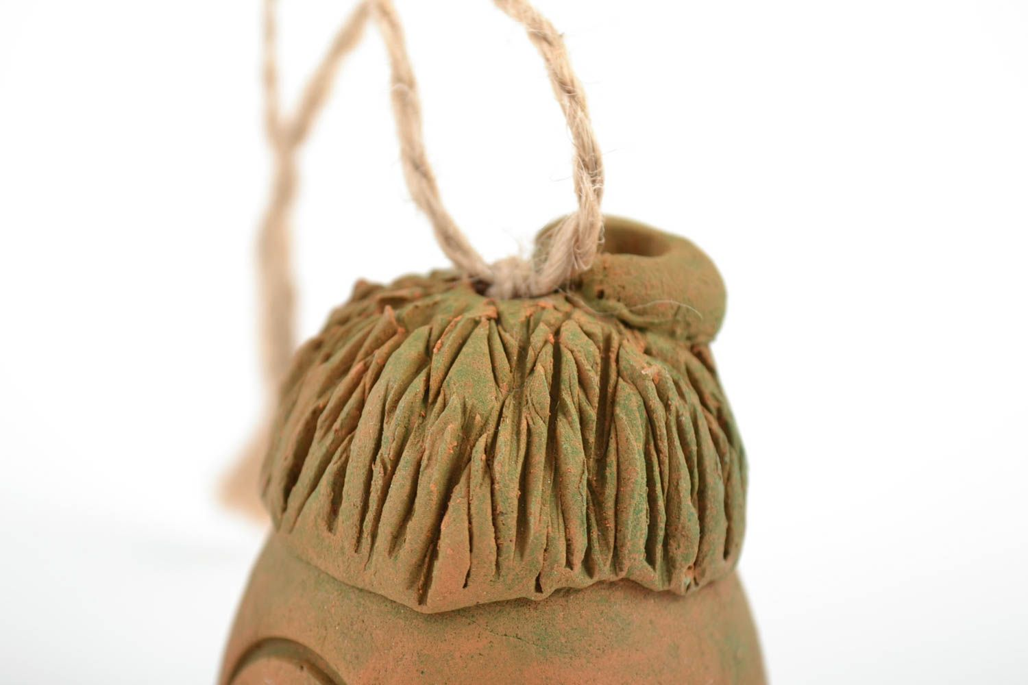 Handmade decorative figured ceramic hanging bell in the shape of house  photo 5