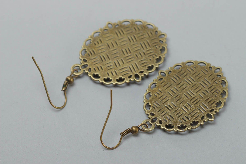 Beautiful handmade earrings made of glass glaze vintage style accessory photo 4