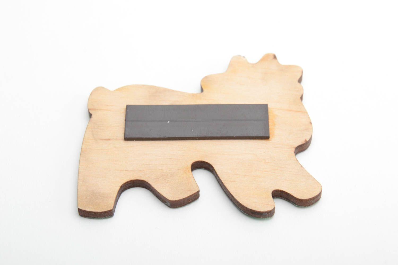 Bright handmade designer painted wooden fridge magnet for kids Goat photo 4