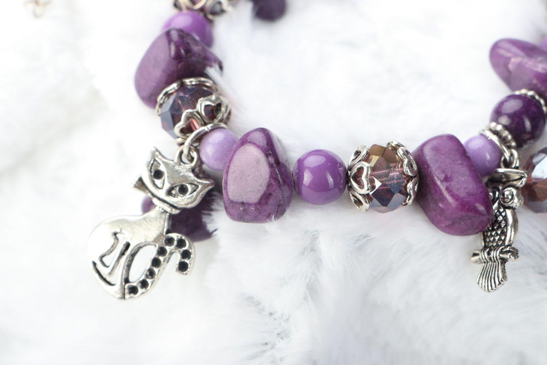Natural stone bracelet of violet color photo 3
