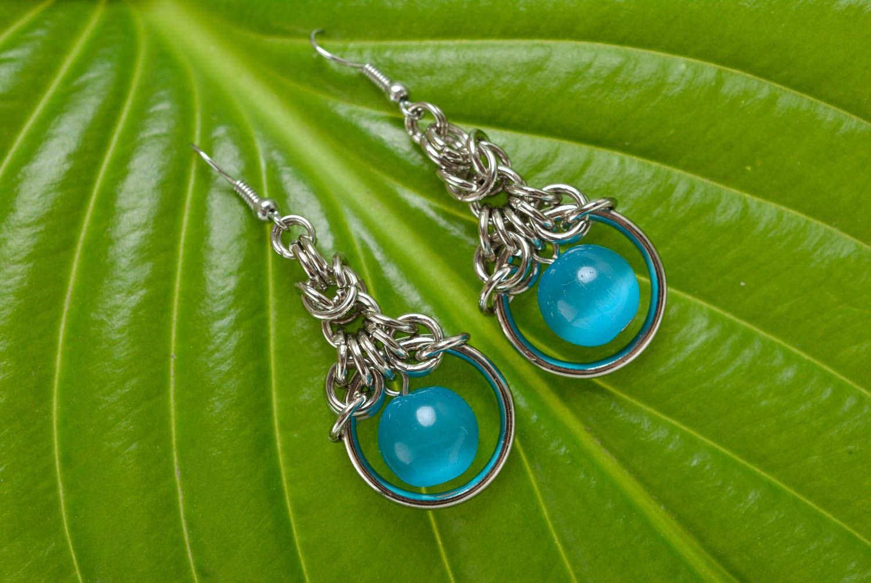 dangle earrings Unusual stylish handmade chainmail metal earrings with cat's eye stone - MADEheart.com