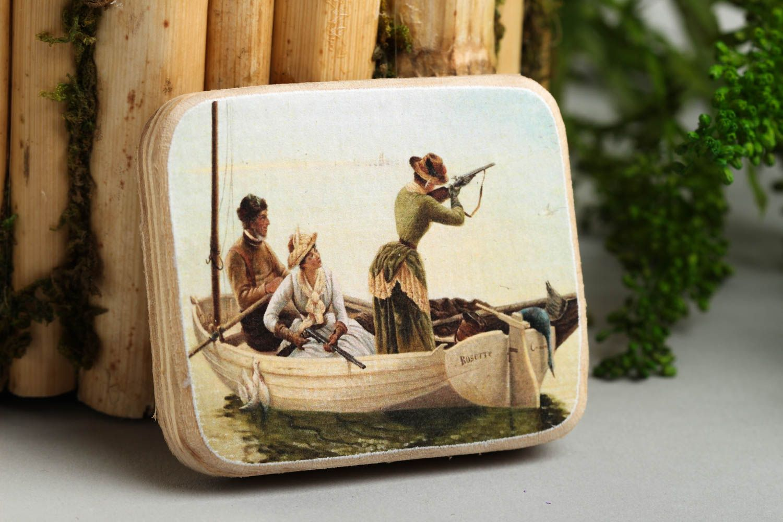 Handmade cute fridge magnet unusual wooden souvenir decorative use only photo 1