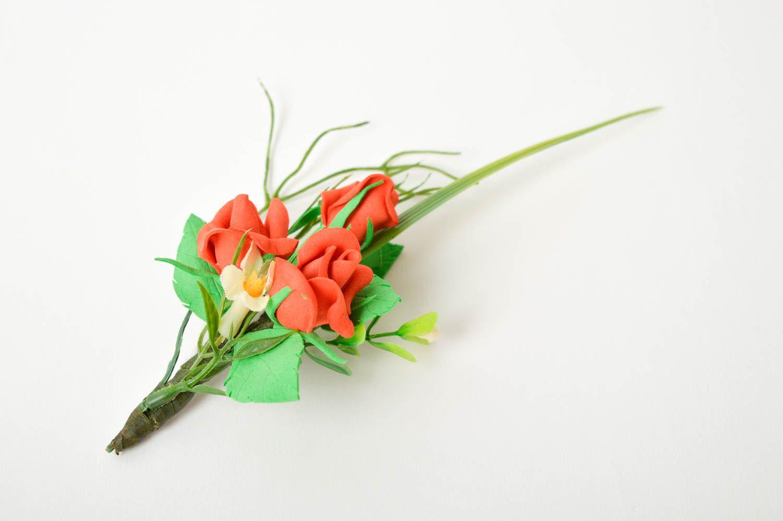 Handmade beautiful brooch unusual wedding boutonniere elegant accessory photo 3