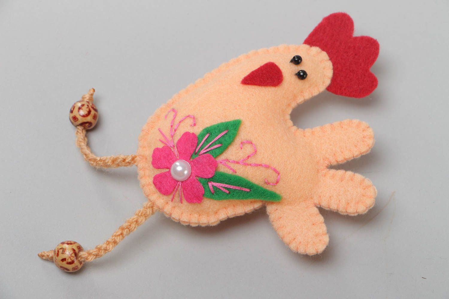 Handmade textile felt fridge magnet with beads Rooster kitchen decor photo 2