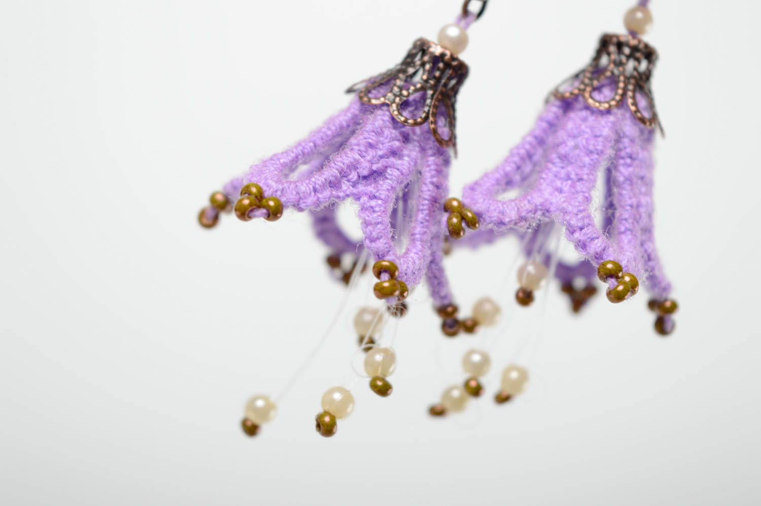 Textile earrings made using tatting technique photo 2