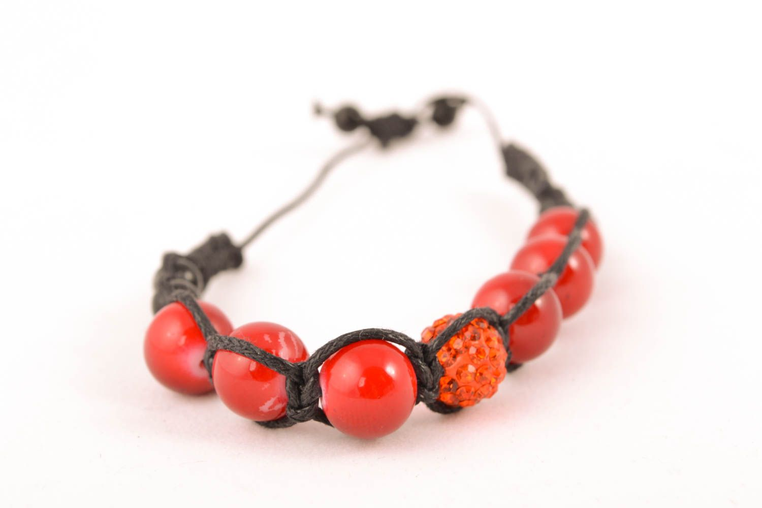 Unusual woven bracelet with beads photo 3