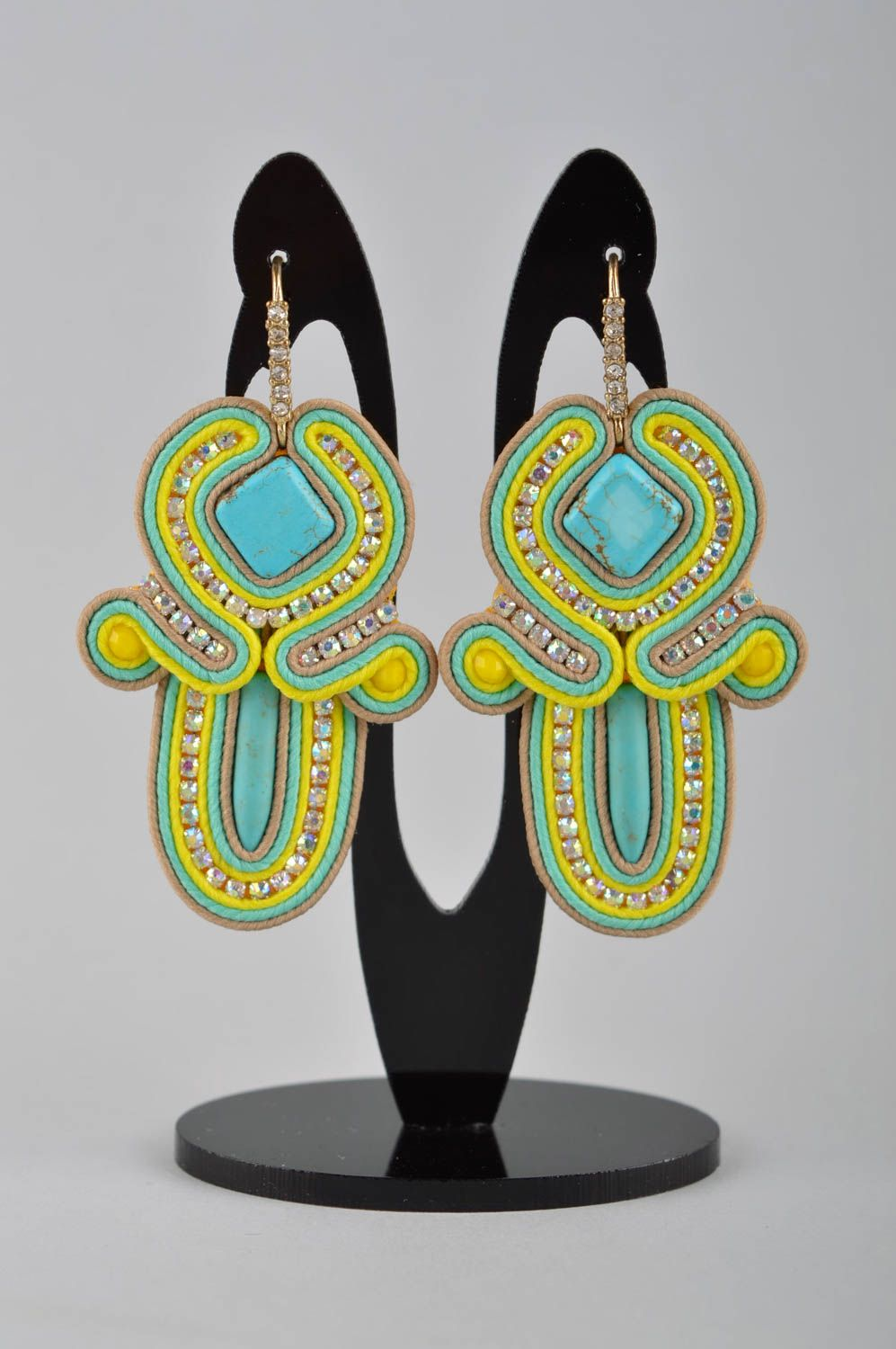 Handmade massive earrings dangling earrings soutache cute earrings gifts for her photo 2