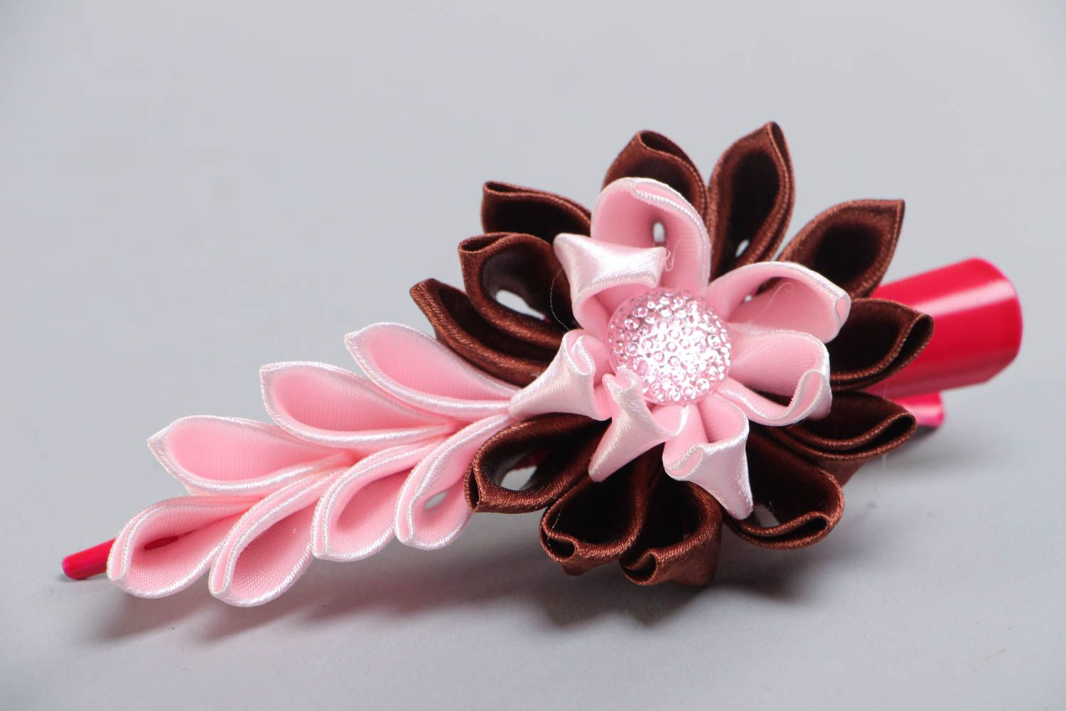 Handmade hair clip with satin ribbon kanzashi flower in pink and brown colors photo 3