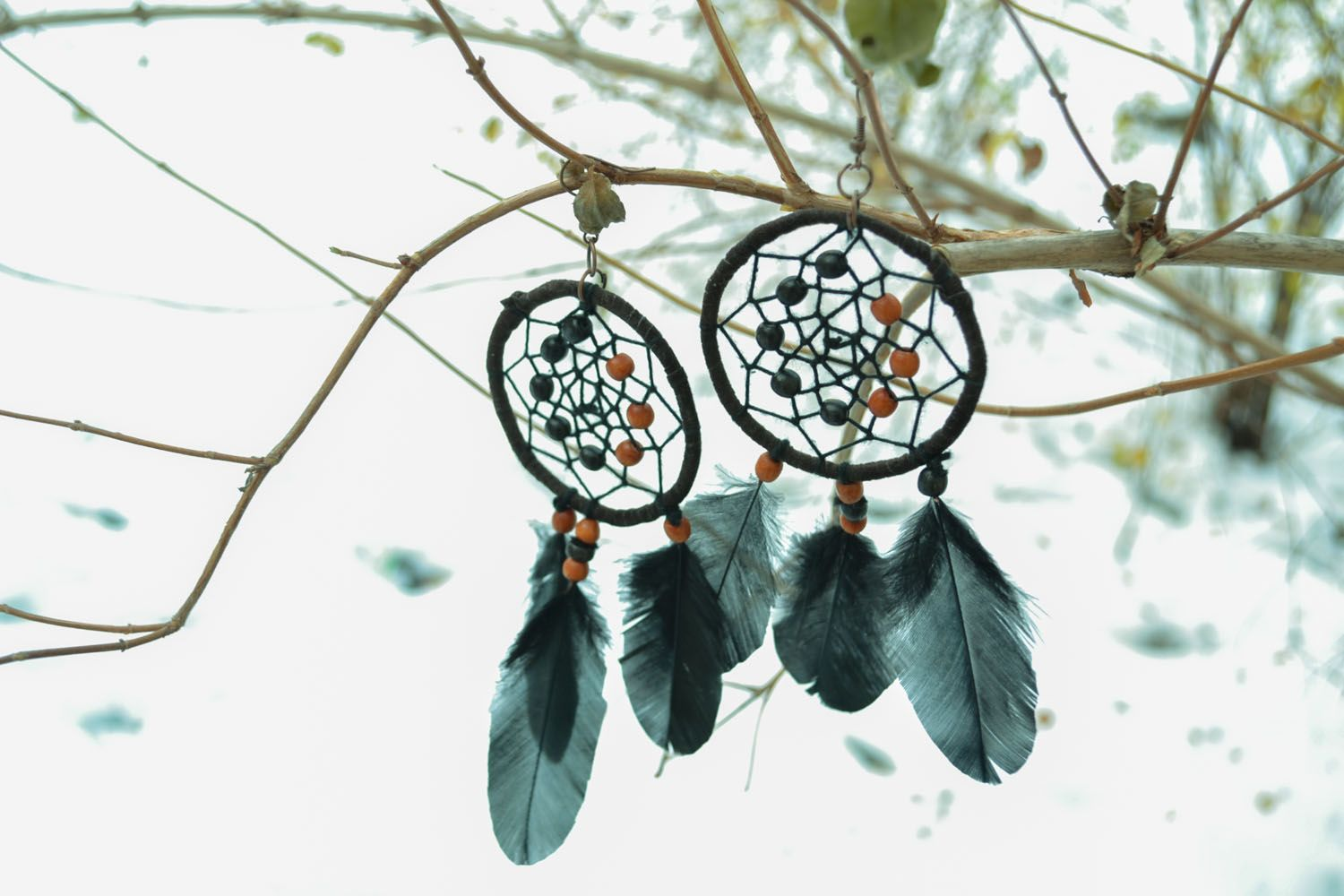 Homemade earrings in the shape of Dreamcatchers photo 5