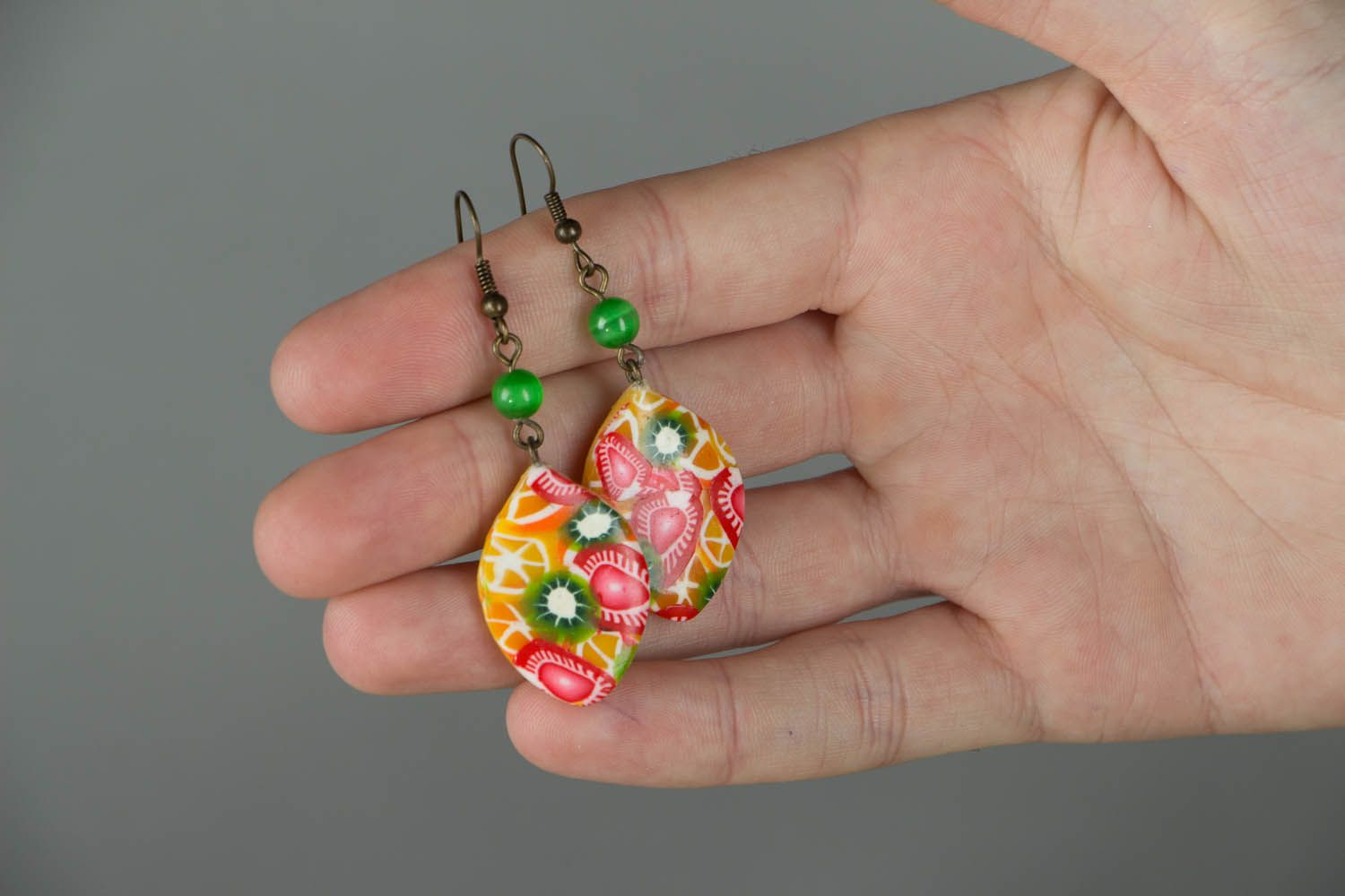 Polymer clay earrings Fruit Mix photo 4
