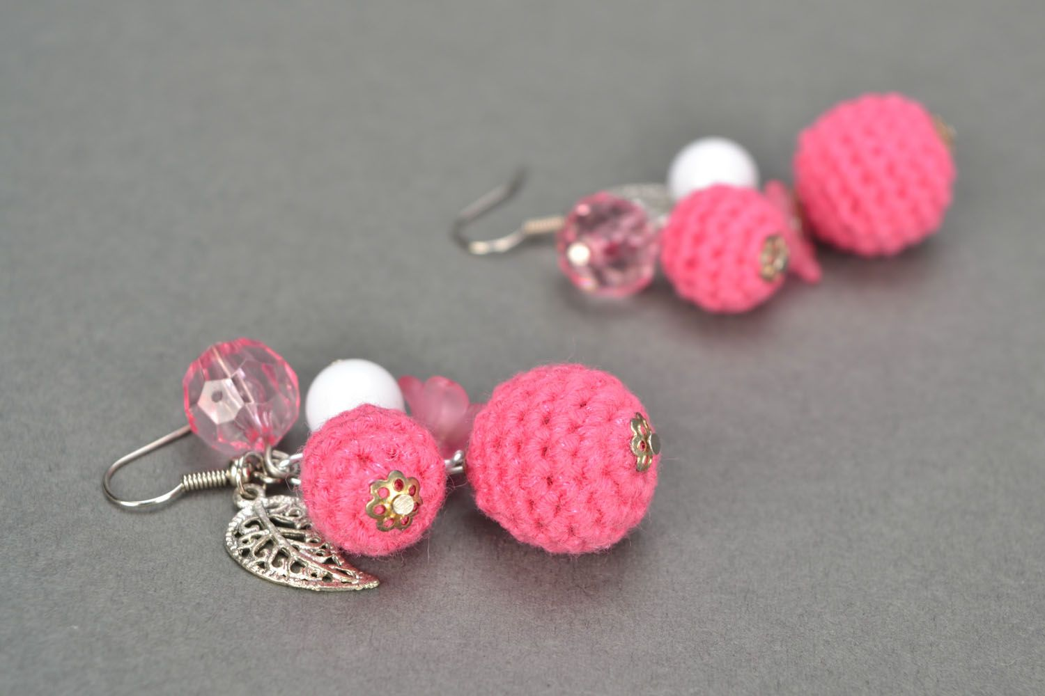 Lace earrings with charms Pink Hope photo 1