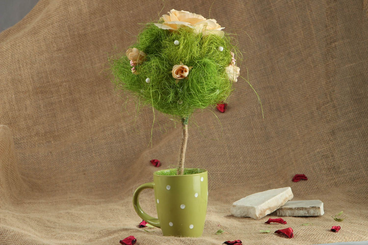 Handmade green topiary in cup photo 5
