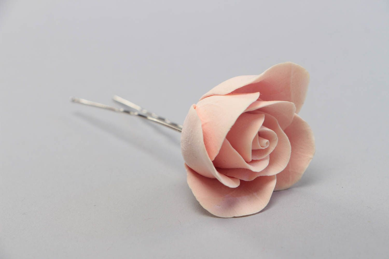 Beautiful pink handmade polymer clay flower hairpin Rose  photo 2