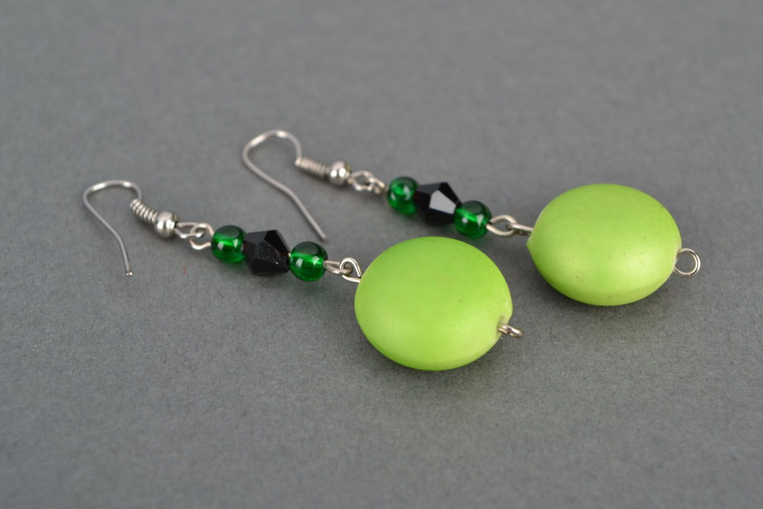 Earrings with plastic beads photo 3