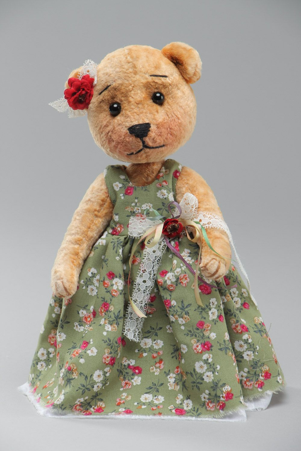 soft toys Handmade soft plush toy bear girl in long dress with floral pattern for children - MADEheart.com