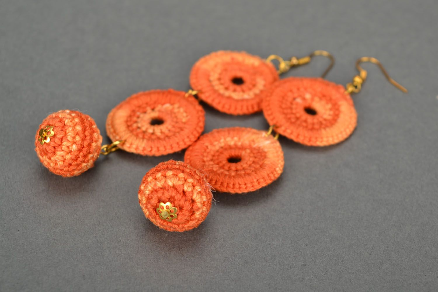 Long orange earrings photo 4