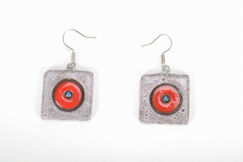 Square ceramic earrings photo 3