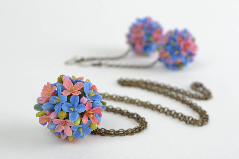 Handgemachtes Blumen Schmuck Set aus Porzellan bunt elegant für Frauen  foto 4