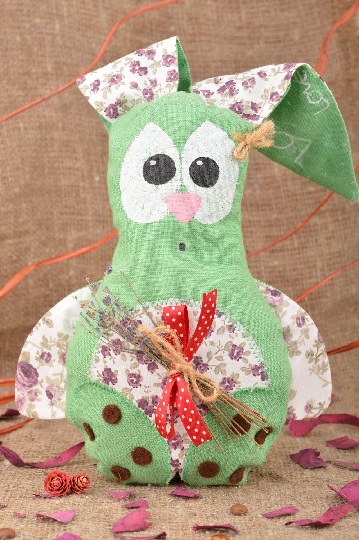 Handmade decorative soft toy sachet pillow green rabbit with lavender  photo 1
