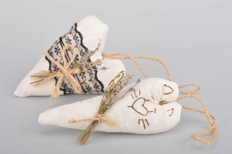 Set of 2 handmade decorative heart shaped fabric wall hanging sachet pillows  photo 2