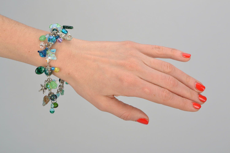 Lampwork bracelet in marine style photo 3
