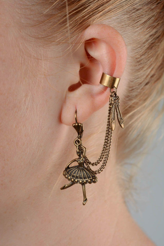 Bronze cuff earrings Ballerina photo 4