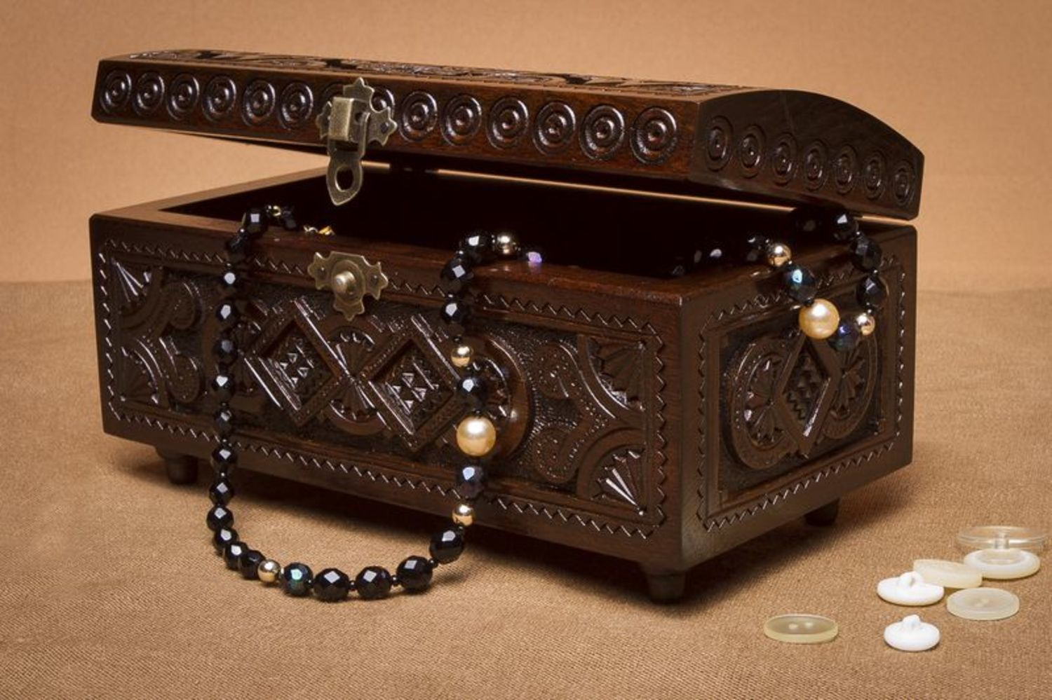 Carved wooden box photo 2