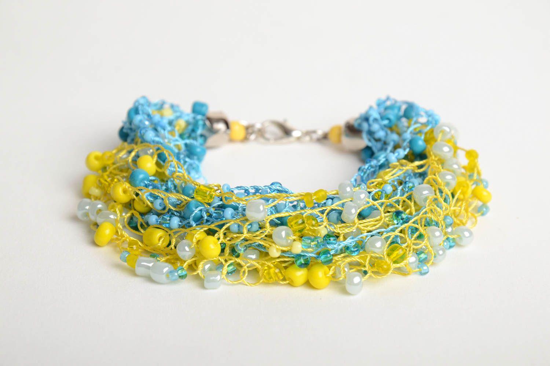 Gehäkeltes blau gelbes Armband aus Glasperlen von Handarbeit für Mädchen schön foto 3