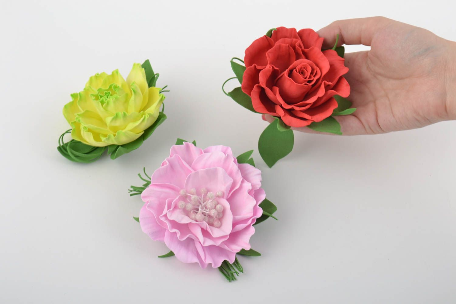 Handmade flower brooches flower hair clips handcrafted jewelry women accessories photo 10