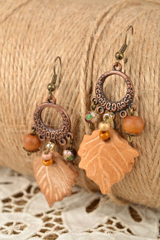 Lange Ohrringe aus Keramik Blätter  foto 1
