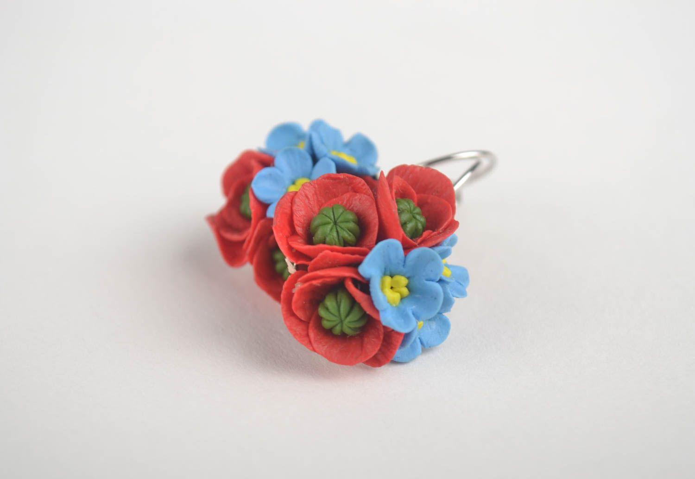 Handmade unique cold porcelain earrings designer bijouterie present for women photo 4