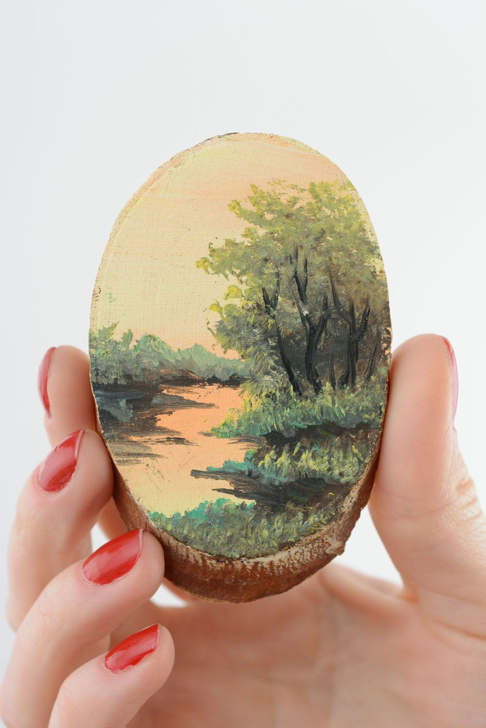 Wooden fridge magnet River photo 3