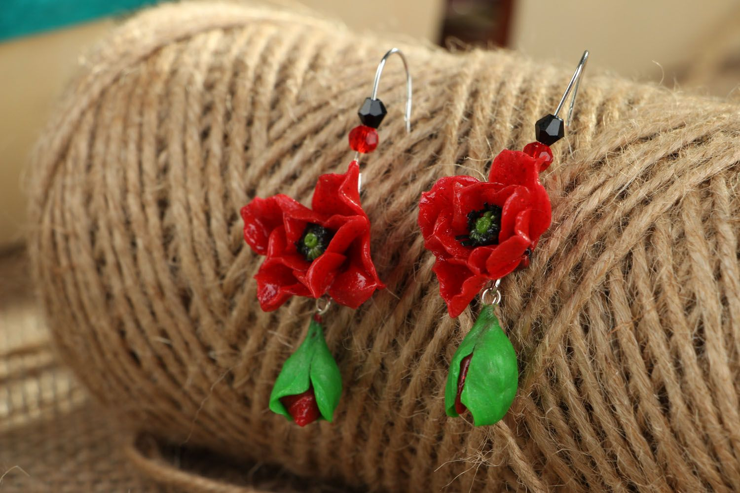 Polymer clay earrings in the shape of poppy flowers photo 3