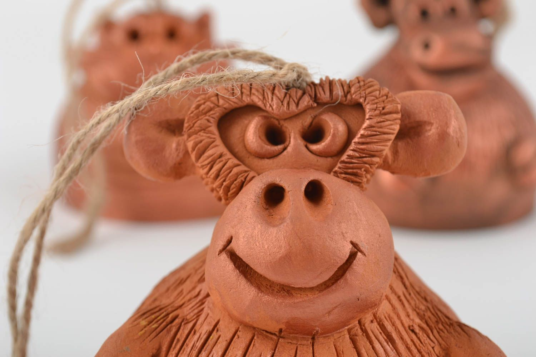 Set of 3 handmade designer molded clay bells for interior decor photo 2