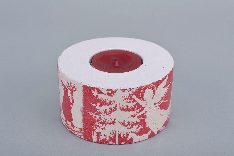 Madeheart soporte de vela de madera navide o - Soporte para velas ...