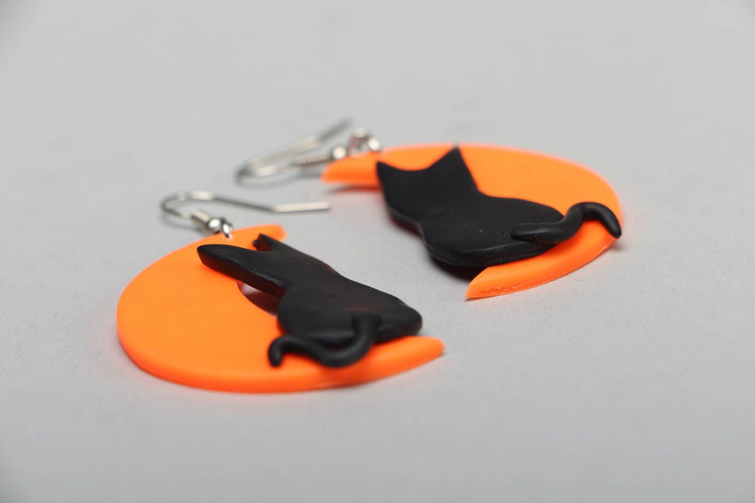Earrings with plastic charms Cats on the Moon photo 2
