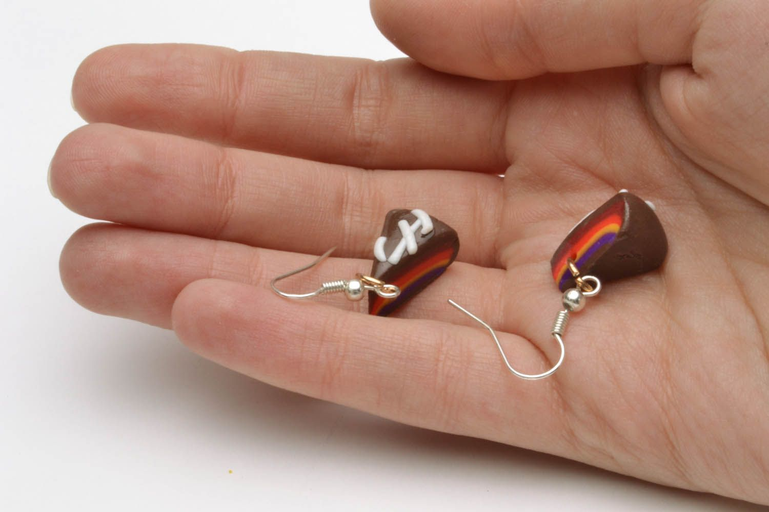 Polymer clay earrings in the shape of cakes photo 5