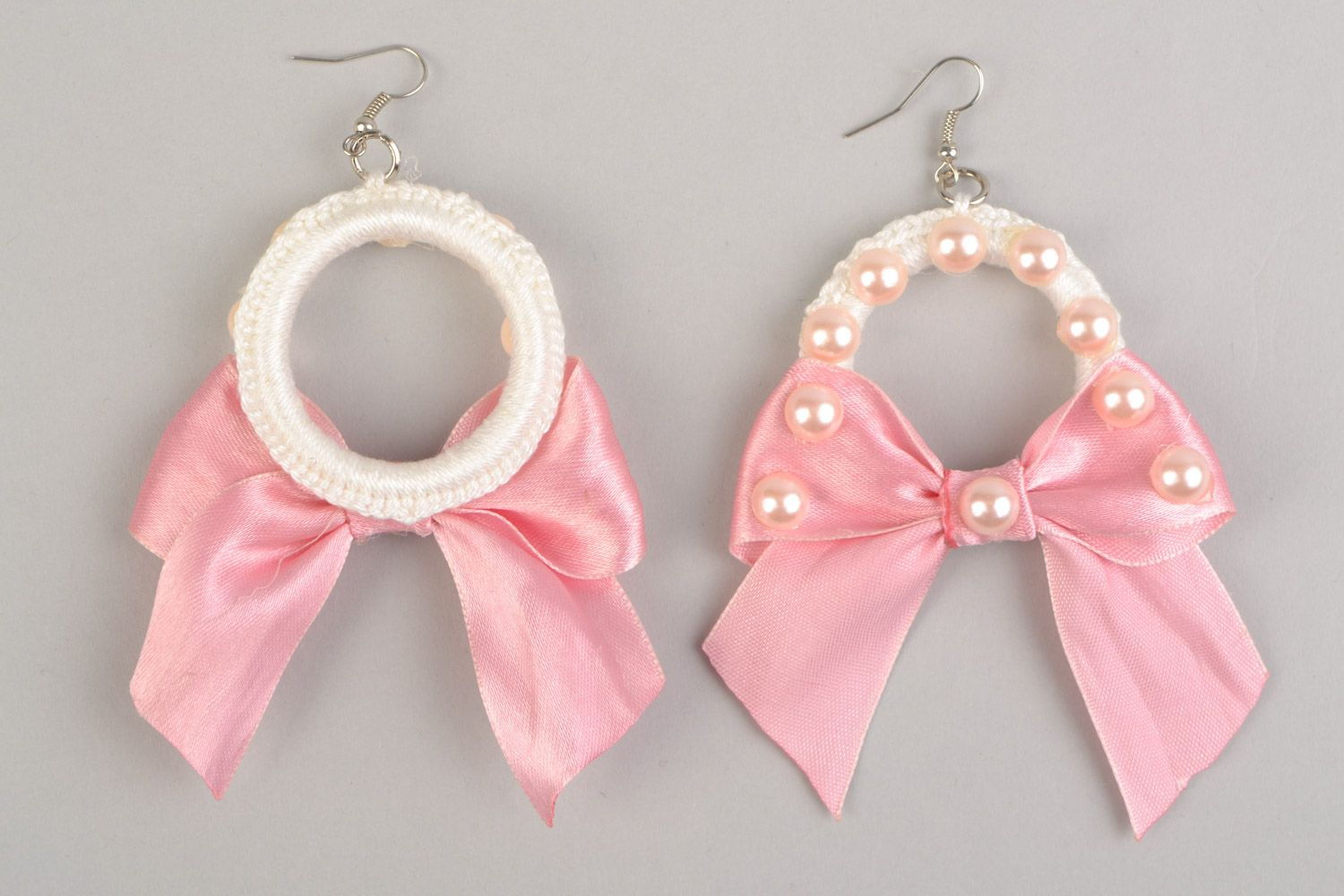 Braided earrings made of plastic rings and threads with pink ribbons present for girlfriend photo 3