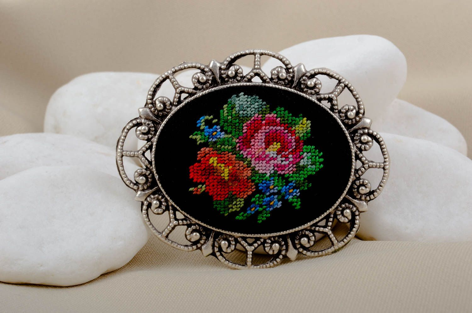 d97038bdfb1 abstraction brooches Handmade vintage accessory stylish beautiful brooch  unusual embroidered brooch - MADEheart.com