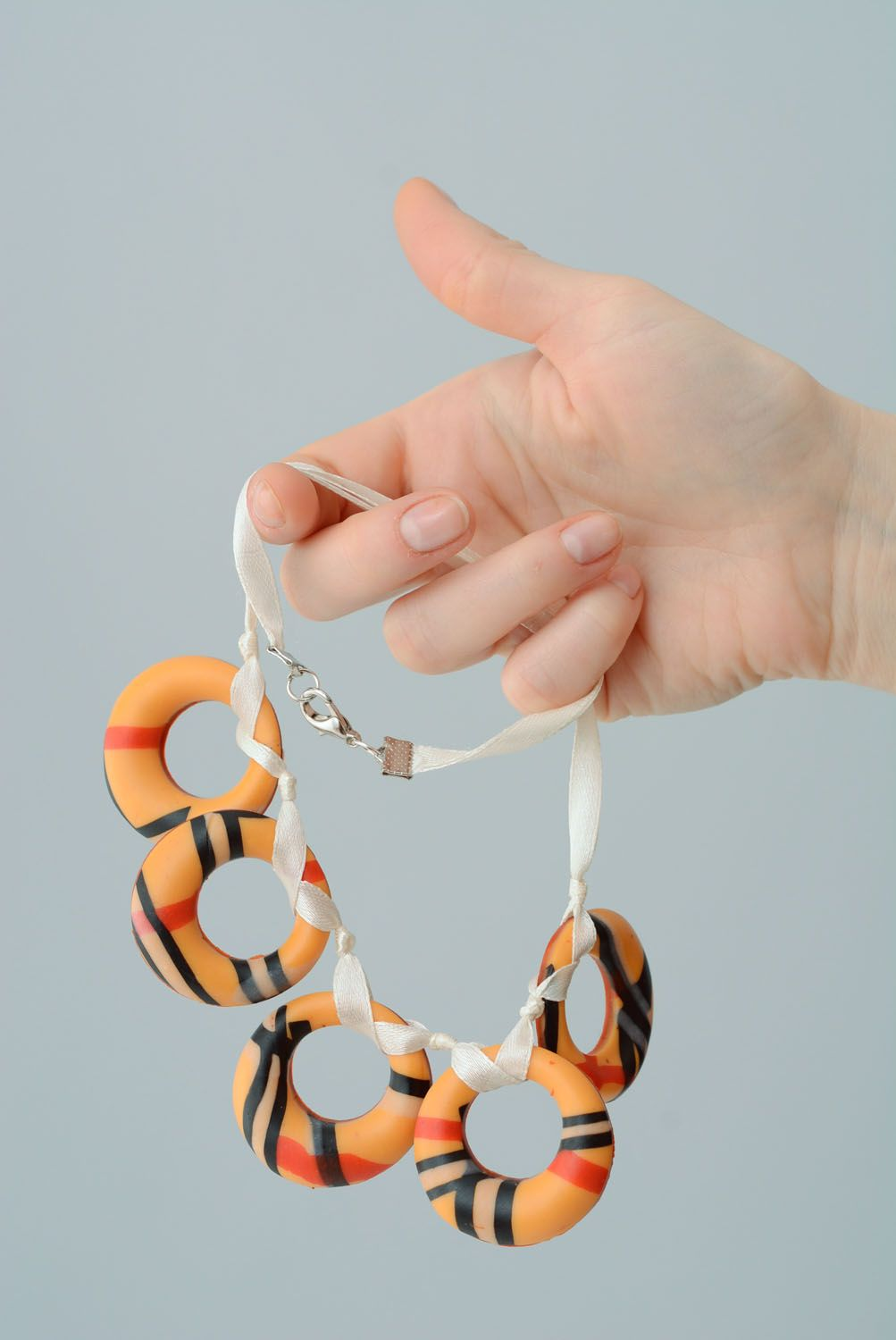 Polymer clay necklace Bagels photo 4