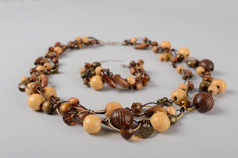 Деревянные украшения ручной работы деревянные бусы длинные женский браслет фото 3